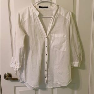 Zara White Button Down Blouse